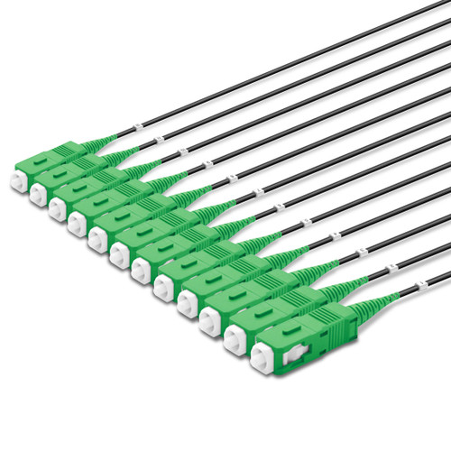 12 SC Simplex connectors, labelled, green