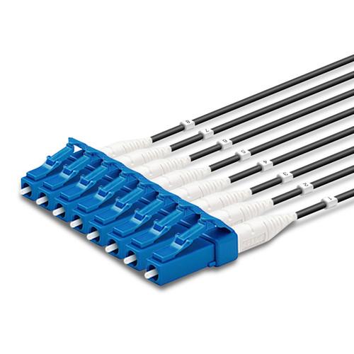 8 LC Simplex connectors, labelled, blue