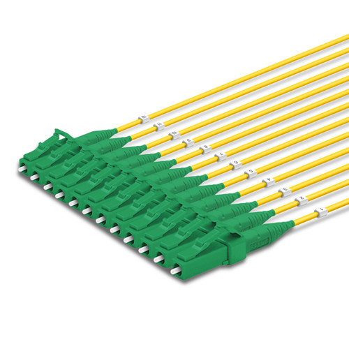 12 LC Simplex connectors, labelled, green