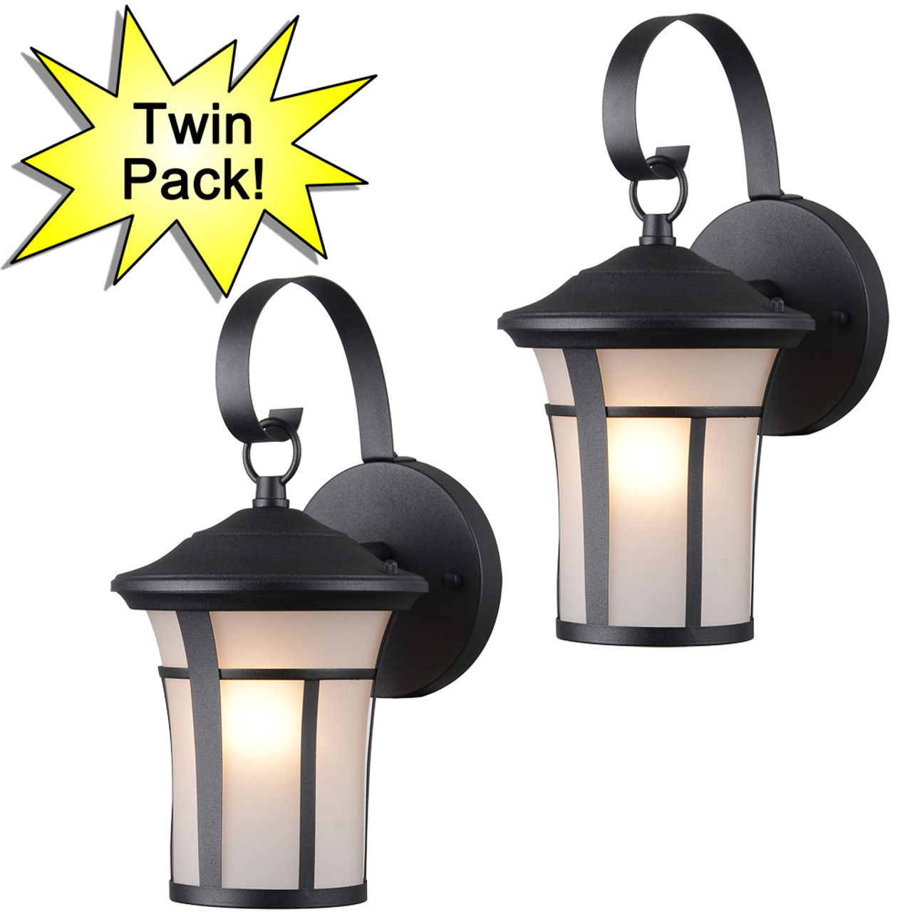 Black outdoor patio porch exterior light fixtures twin pack 22 9692