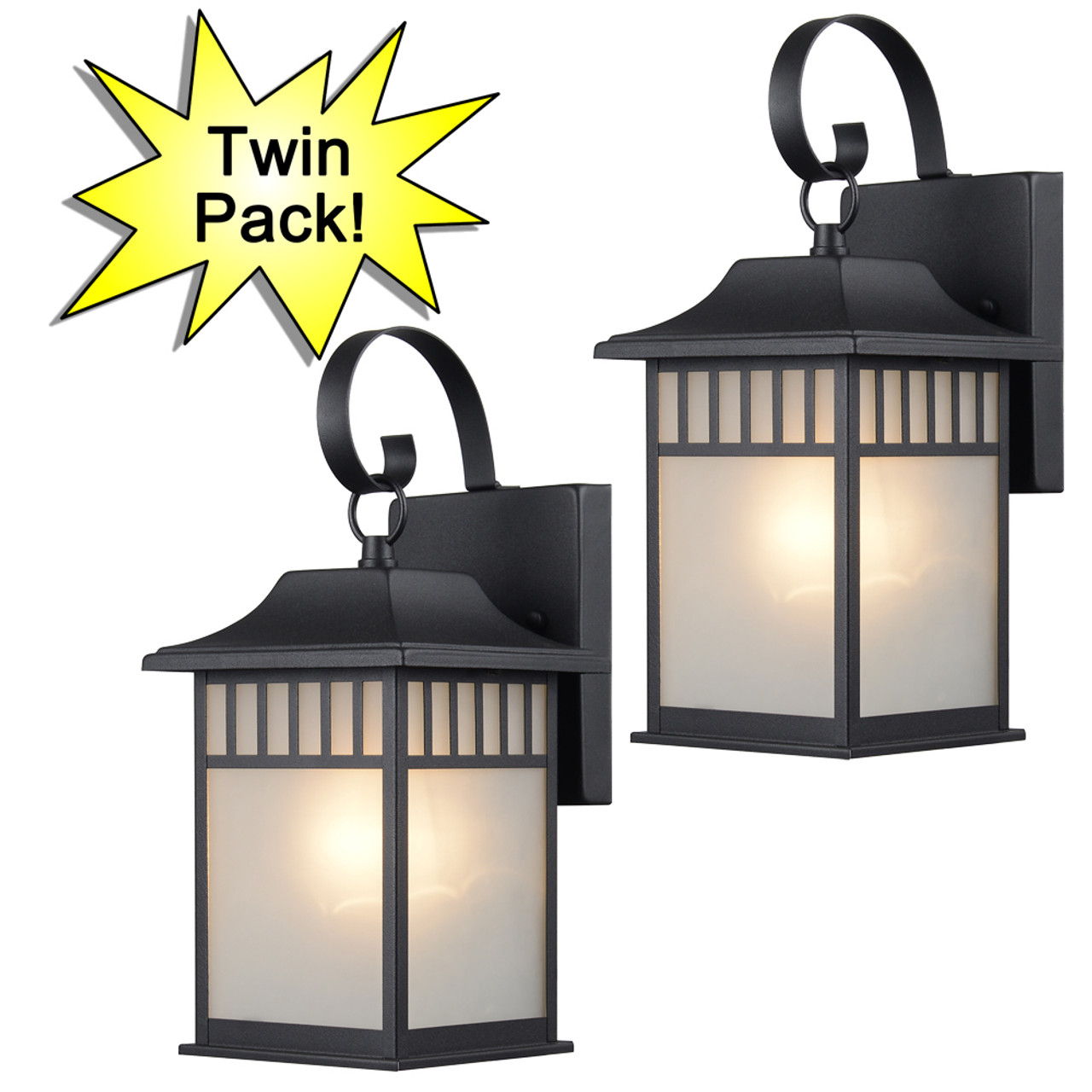Designers impressions black outdoor patio porch exterior light fixtures twin pack 73476