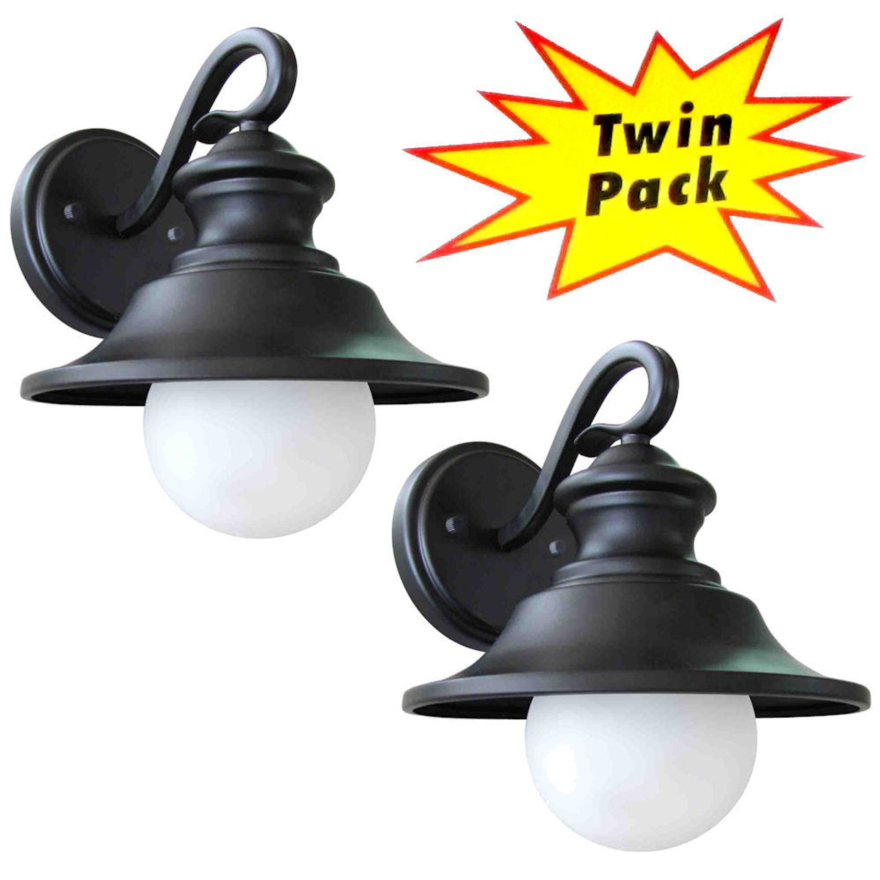 Black outdoor patio porch exterior light fixtures twin pack 21 2101
