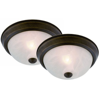 Oil Rubbed Bronze Flush Mount Ceiling Light Fixtures Twin Pack: 11-9962