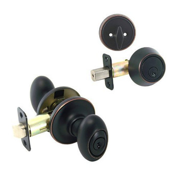 Designers Impressions Somerset Design Oil Rubbed Bronze Combo Pack - Entry & Deadbolt: 33-2699