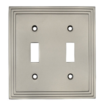 Cosmas 25033-SN Satin Nickel Double Toggle Switchplate Cover