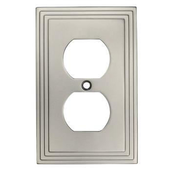 Cosmas 25026-SN Satin Nickel Single Duplex Outlet Wall Plate
