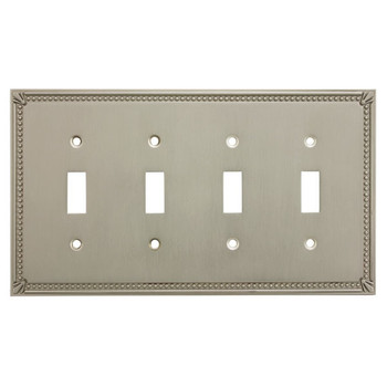 Cosmas 44036-SN Satin Nickel Quad Toggle Switchplate Cover