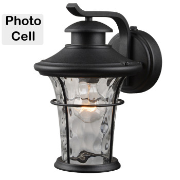 Black Outdoor Patio / Porch Exterior Light Fixture w/Photo Cell Operation : 21-2274