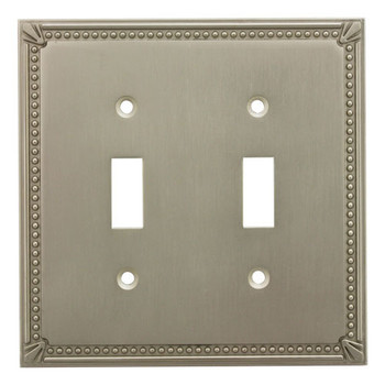 Cosmas 44031-SN Satin Nickel Double Toggle Switchplate Cover
