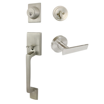Designers Impressions Churchill Design Satin Nickel Contemporary Handleset with Laurel Interior