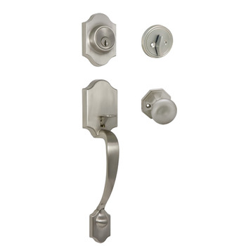 Designers Impressions Valhala Satin Nickel Traditional Handleset with Stanton Interior: 22-9000/7244
