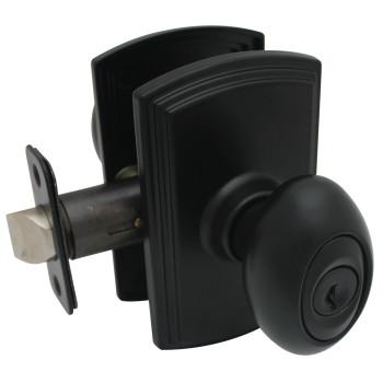 Delaney Canova Design Black Entry Door Knob (Front & Back): 100T-CN-BLACK