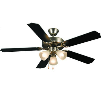 "Satin Nickel 52"" Ceiling Fan w/ Light Kit : 5935"