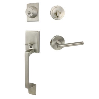 Designers Impressions Churchill Design Satin Nickel Contemporary Handleset with Kain Interior
