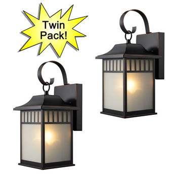Designers Impressions Oil Rubbed Bronze Outdoor Patio / Porch Exterior Light Fixtures - Twin Pack : 73477