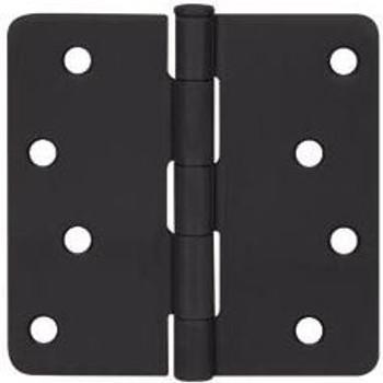"""Cosmas Matte Black Door Hinge 4"""" with 1/4"""" Radius Corners: 44081"""