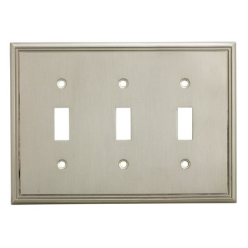 Cosmas 65005-SN Satin Nickel Triple Toggle Switchplate Cover