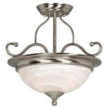 Satin Nickel Semi-Flush Mount Ceiling Light Fixture : 54-3967