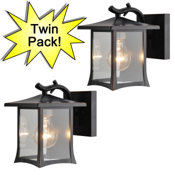Designers Impressions Oil Rubbed Bronze Outdoor Patio / Porch Exterior Light Fixtures - Twin Pack : 73475