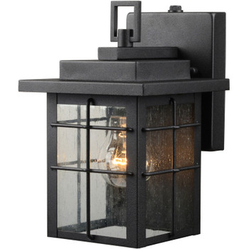 Black Square Outdoor Patio / Porch Exterior Light Fixture w/Photo Cell Operation : 21-9389-Large