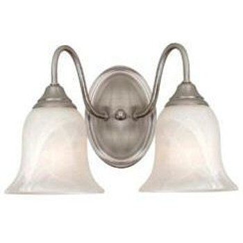 Satin Nickel 2 Light Wall Sconce / Bathroom Fixture : 54-4023
