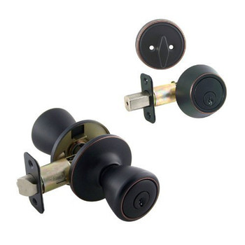 Designers Impressions Salem Design Oil Rubbed Bronze Combo Pack - Entry & Deadbolt: 33-2499