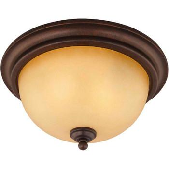 Bennington Antique Bronze 2 Light Flush Mount Fixture: 10-1134