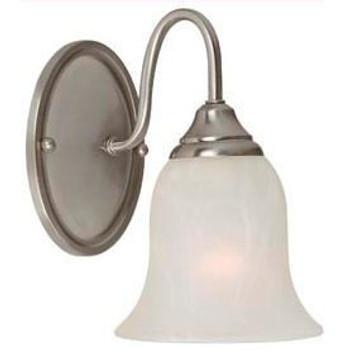 Satin Nickel 1 Light Wall Sconce / Bathroom Fixture : 54-4015