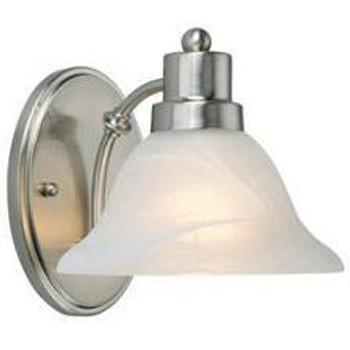 Satin Nickel 1 Light Wall Sconce / Bathroom Fixture : 54-4460