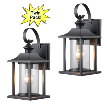Designers Impressions Textured Black Outdoor Patio / Porch Exterior Light Fixture-Twin Pack: 73478
