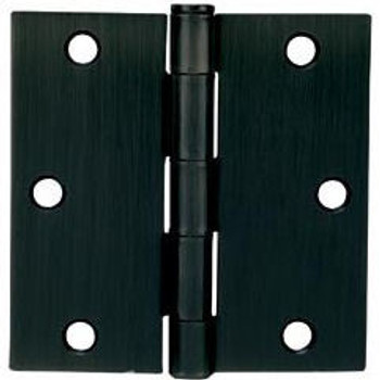 "Cosmas Matte Black Door Hinge 3.5"" with Square Corners: 37625"