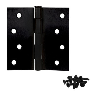 "Cosmas Matte Black Door Hinge 4"" with Square Corners: 23841"