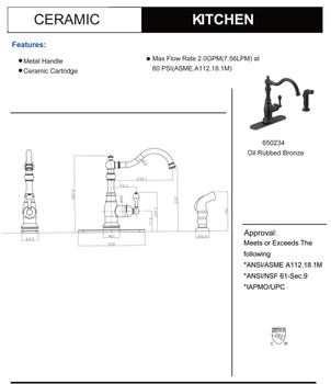 Designers Impressions 650234 Oil Rubbed Bronze Kitchen Faucet w/ Sprayer