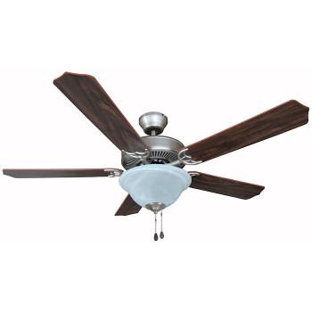 """Satin Nickel 52"""" Ceiling Fan w/ Light Kit : 7059"""