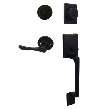 Cosmas 600 Series Oil Rubbed Bronze Handleset with 30 Series Interior: HS600/39-ORB