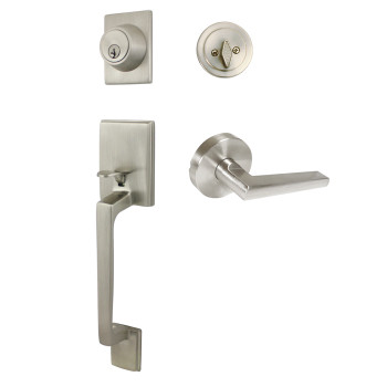 Designers Impressions Churchill Design Satin Nickel Contemporary Handleset with Madison Interior