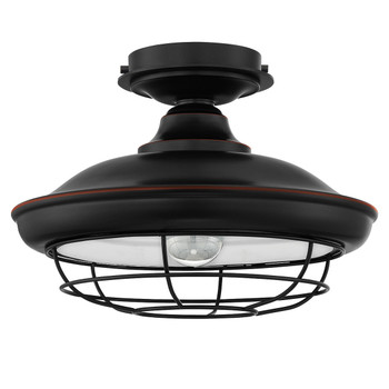 Designers Impressions Charleston Oil Rubbed Bronze Semi-Flush Mount Ceiling Light Fixture : 10001