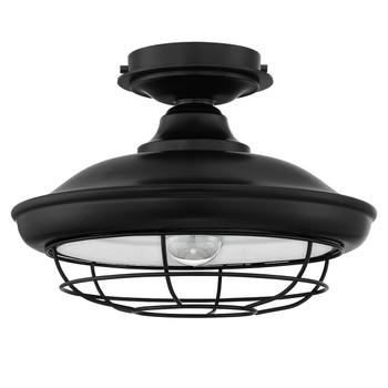 Designers Impressions Charleston Matte Black Semi-Flush Mount Ceiling Light Fixture : 10002