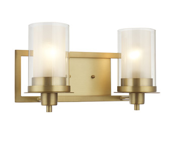Juno Brushed Brass 2 Light Wall Sconce / Bathroom Fixture: 73486