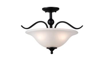 Designers Impressions Countryside Matte Black 3 Light Semi-Flush Mount Ceiling Light Fixture: 10020