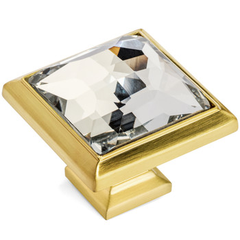 Cosmas 5883BB-C Brushed Brass & Clear Glass Square Cabinet Knob