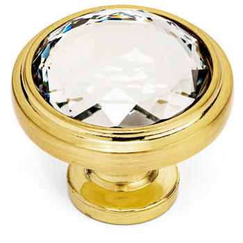 Cosmas 5317BB-C Brushed Brass & Clear Glass Round Cabinet Knob