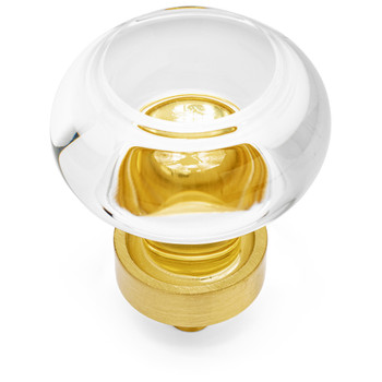Cosmas 6355BB-C Brushed Brass & Clear Glass Round Cabinet Knob