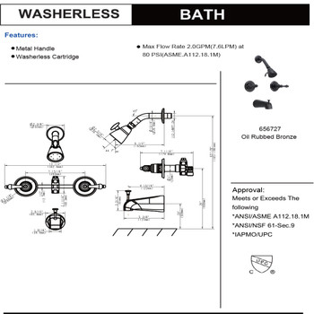 Designers Impressions 656727 Oil Rubbed Bronze Tub / Shower Combo Faucet