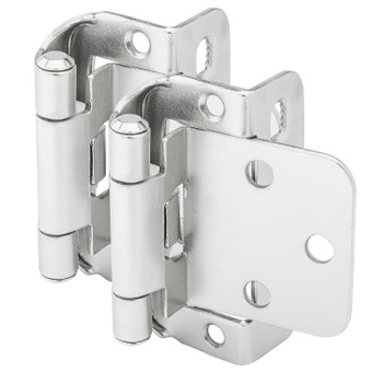 "Cosmas 18650-SN Satin Nickel Partial Wrap Hinge 1/2"" Overlay (Pair)"