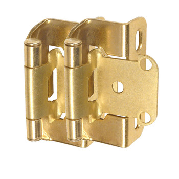 "Cosmas 27550-BB Brushed Brass Partial Wrap Hinge 1/2"" Overlay (Pair)"