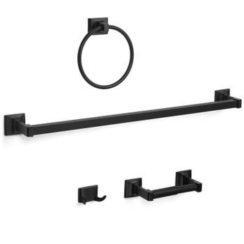 Designers Impressions Eclipse Series 4 Piece Black Bathroom Hardware Set: MBA2200-4