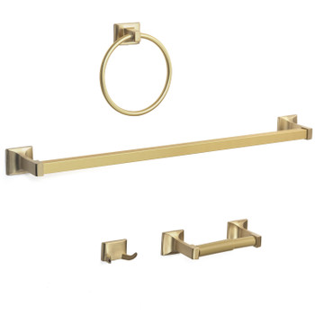 Designers Impressions Eclipse Series 4 Piece Brushed Brass Bathroom Hardware Set: MBA5200-4
