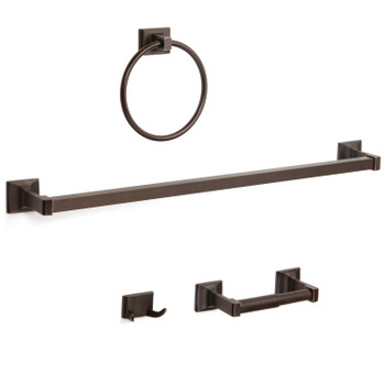 Designers Impressions Eclipse Series 4 Piece Oil Rubbed Bronze Bathroom Hardware Set: MBA8200-4