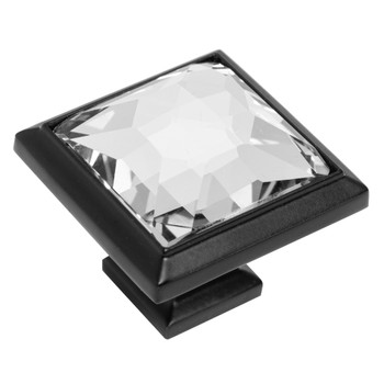 Cosmas 5883FB-C Flat Black & Clear Glass Square Cabinet Knob